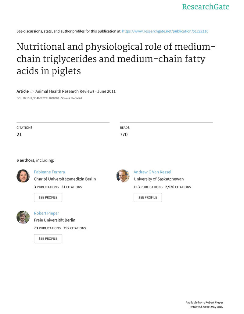 Nutritional and physiological role of medium chain triglycerides and medium chain